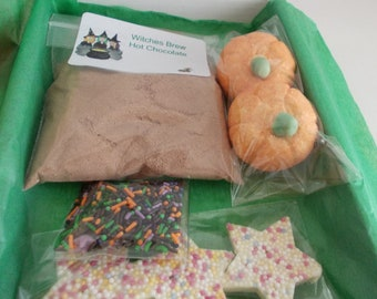 Witches Brew Halloween Hot Chocolate kit, trick or treat gift. kids letter box gift box,