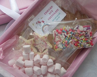 Unicorn hot chocolate box letterbox gift, , grate Card Alternative, kids party favour, Trick or treat gift
