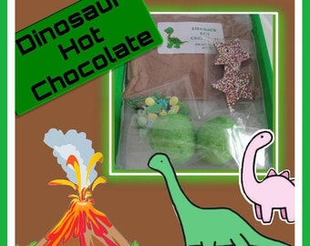 Dinosaurs hot chocolate kit for kids, letterbox gift, dino lovers hot chocolate favour, Easter basket filler