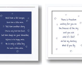 Sets of two Baby Boy Nursery Printable Wall Art Decor, Hold Him a Little Longer, There is Freedom, Newborn Baby Boy Gift, Baby Shower Gift