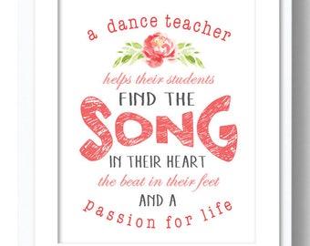 Printable Dance Teacher Gift, Dance Teacher Gift, End of Year Gift, Dance Gift, Gift for Dance Teacher, Teacher Gift