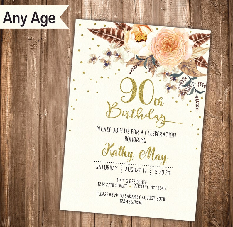 90th Birthday Invitation 20th 30th 40th 50th 60th 70th