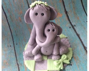ELEPHANT CAKE TOPPER Baby Shower Fondant baby shower cake topper safari jungle animal edible cake topper
