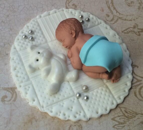 Teddy Grand personnalisé Comestibles Bébé Baptême cake topper décoration