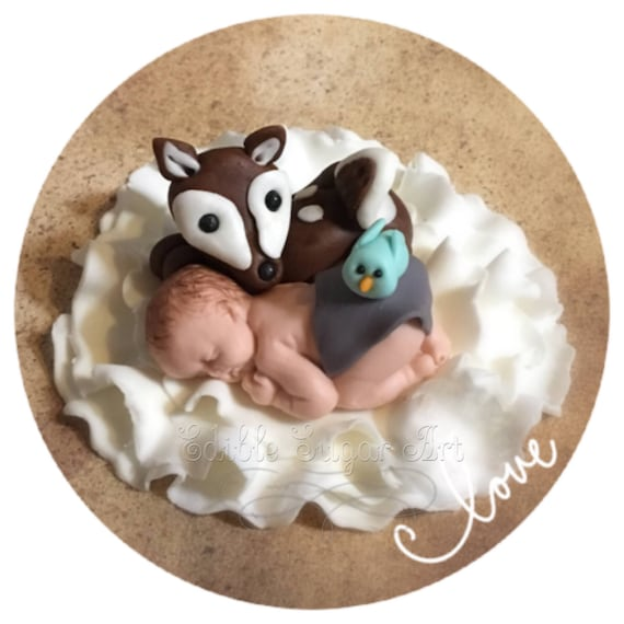 WOODLAND BABY SHOWER Fondant Cake Topper Woodland Nursery