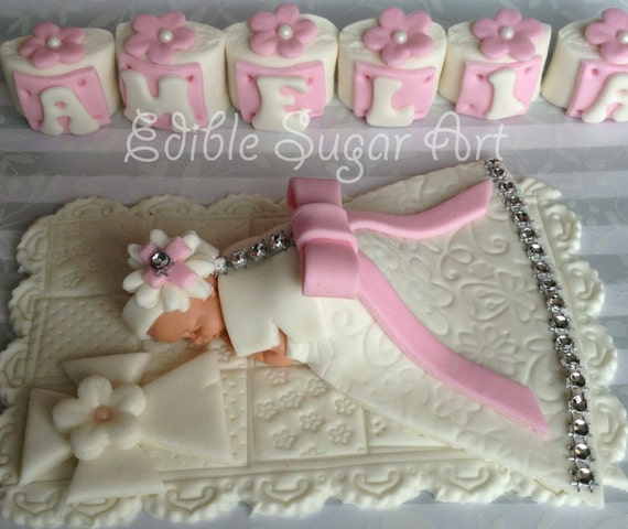 Personalised edible baby girl grand cross christening cake topper decoration