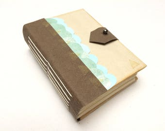 A7 Notebook With Faux Leather Spine And Closure Blue Gold Details Blank Pages Tabs