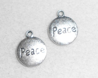 """Silver """"Peace"""" saying Charms"""