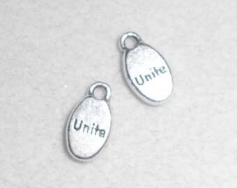 "Silver ""Unite"" saying Charms"