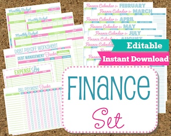 EDITABLE and INSTANT DOWNLOAD Finance Organizer Set-Budget and Bill Pay Printables- 15 Printables