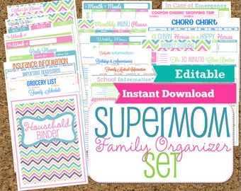 EDITABLE and INSTANT DOWNLOAD Mom Planners- Home Organization Printables-30 Sheets-Instant Download