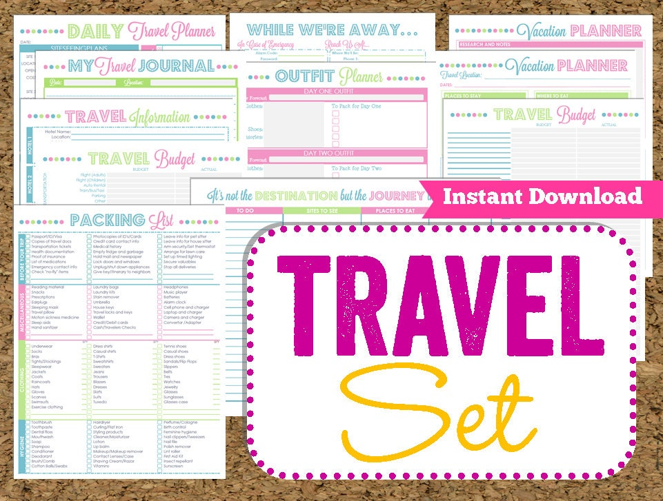 instant download travel printables vacation planner 14 pdf etsy