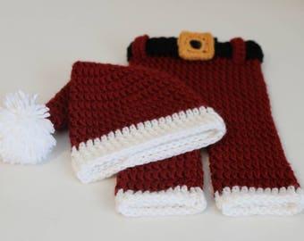 Santa Hat & Pants Crochet Pattern ... Size: Newborn ... Photo Prop ... Instant Download