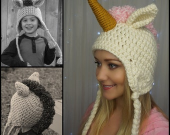 Chunky Unicorn/Mustang Hat ... Crochet Pattern - Size: Child, Teen/Adult Small, Adult Large ... Instant Download