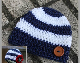 Show Your Colors - Striped Beanie Crochet Pattern - Preemie, Newborn/0-3 months, 3-6 months, 6-12 months, Toddler/Child ... Instant Download