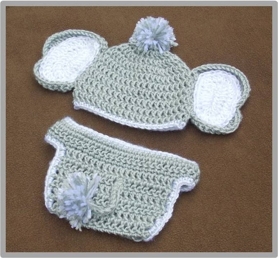 Baby Elephant Hat And Diaper Cover Pattern Instant Etsy