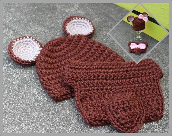 Teddy Bear Diaper Cover /& Beanie *made to order*