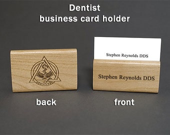 Dds business card etsy dentist personalized wood business card holder colourmoves