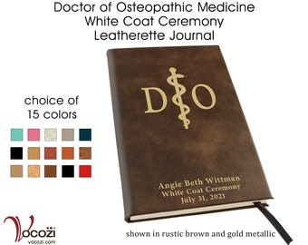 Osteopathic Medicine Student White Coat Ceremony Gift Personalized Leatherette Journal