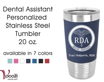 Dental Assistant RDA Vacuum Insulated Silicone Grip Stainless Steel Tumbler