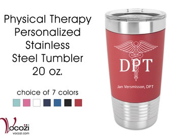 Doctor of Physical Therapy DPT Vacuum Insulated Silicone Grip Stainless Steel Tumbler Physical Therapist Gift