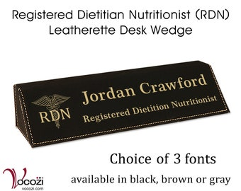 Registered Dietition Nutritionist (RDN) Personalized Desk Name Plate Leatherette Desk Name Wedge