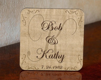 Personalized Wedding Gift Coasters - Wedding Couple First Names - Wedding Date - set of 4 with mahogany holder Wedding Shower Gift