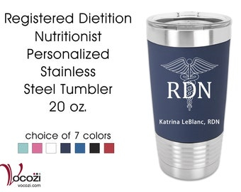 Registered Dietition Nutritionist RDN Vacuum Insulated Silicone Grip Stainless Steel Tumbler