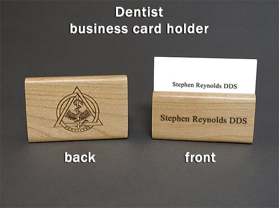 Dentist personalized wood business card holder etsy colourmoves