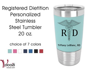 Registered Dietition RD Vacuum Insulated Silicone Grip Stainless Steel Tumbler