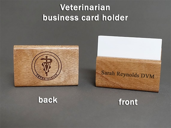 Veterinarian personalized wooden business card holder etsy image 0 colourmoves