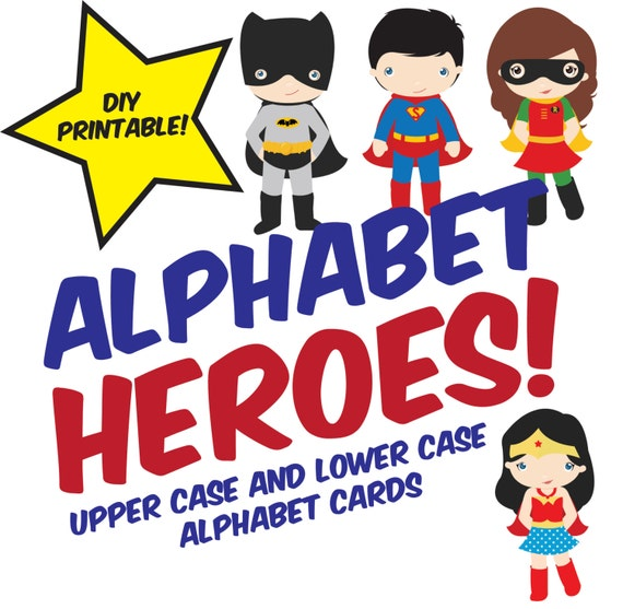 Printable Alphabet Heroes Flash Cards Instant Download Etsy