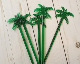 25 Palm Tree drink stirrers