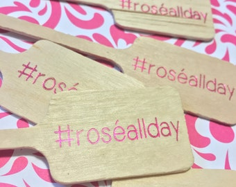 Rosé All Day Drink Stirrers in pink foil #roséallday