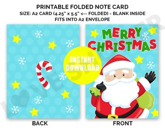 christmas card merry christmas a2 size printable note cards digital folded printable card santa christmas holiday pdf you print 007