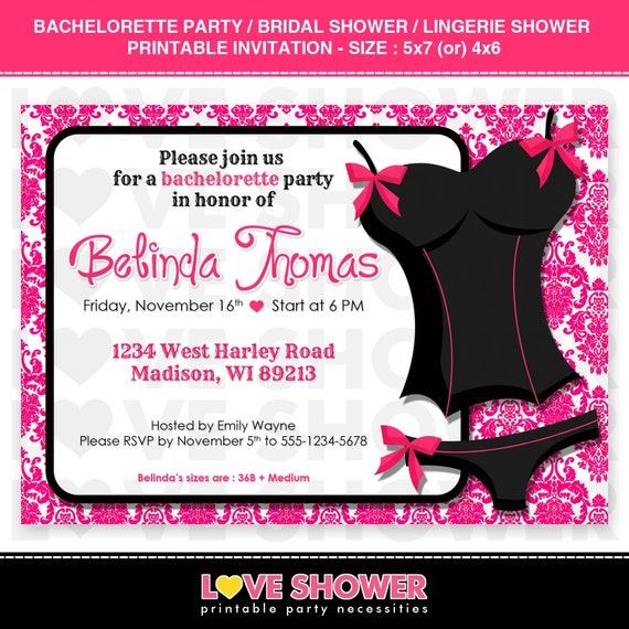 8aef85992190 Bachelorette Party Bridal Shower Lingerie Shower Invitation - 5x7 4x6 -  Printable - Digital - Print Your Own - PDF JPG