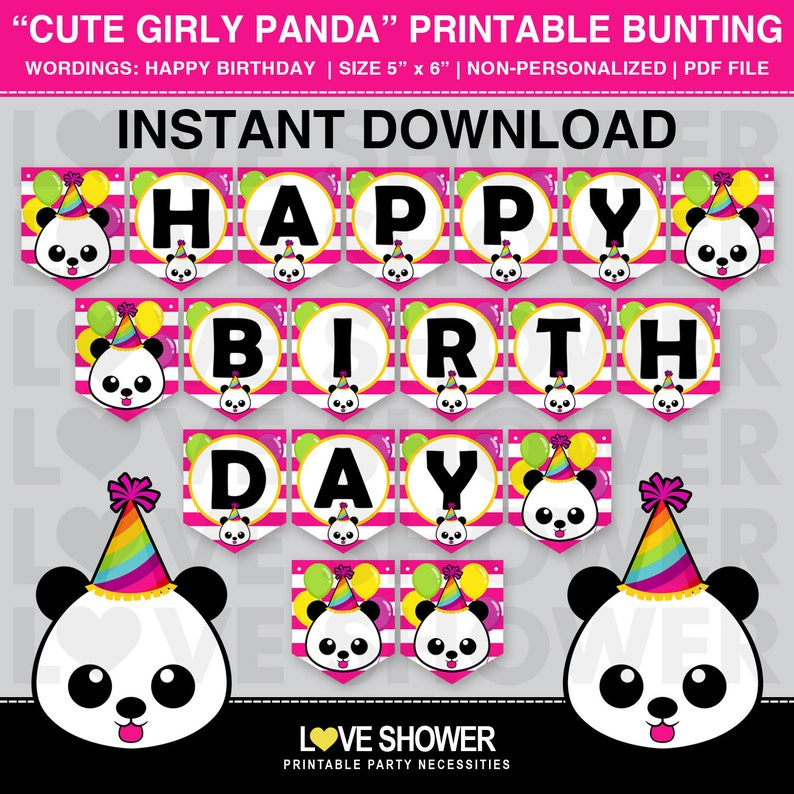 image about Printable Flag Banner called Adorable Girly Panda Printable Flag Banner. Satisfied Birthday Banner. Electronic Printable. Geared up toward Print. PDF Record.