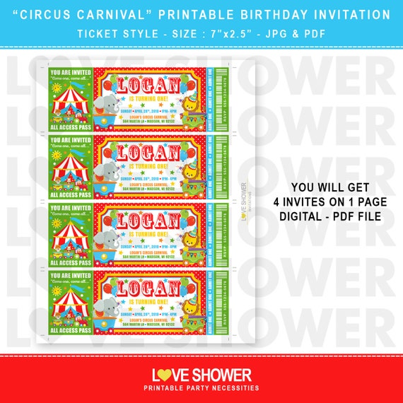 graphic about Carnival Printable named Adorable Circus Carnival Printable Birthday Invitation Ticket Style and design Electronic Document Simply Yourself Print JPG and PDF