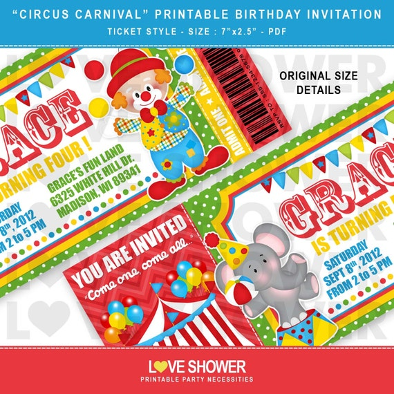 picture about Carnival Printable named Circus Carnival Printable Birthday Invitation Ticket Structure - Electronic - Print Your Private