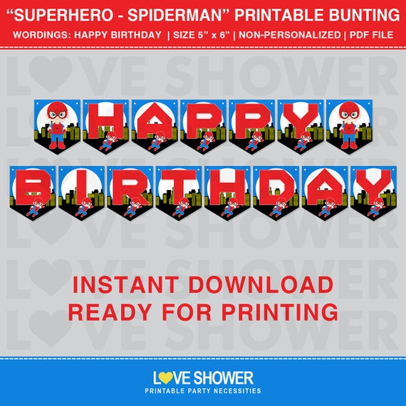 Superhero Spiderman Printable Flag Banner. Happy Birthday