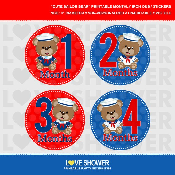 picture about Printable Iron Ons identify Lovable SAILOR BEARS Printable Regular monthly Stickers or Iron Upon