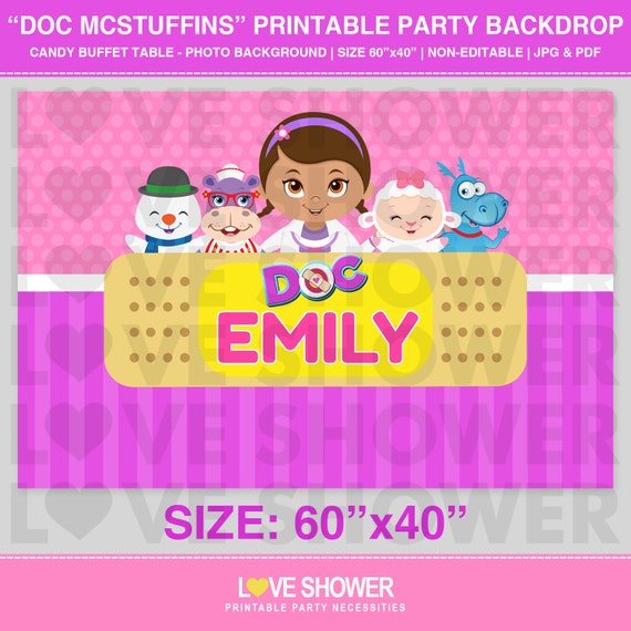 Doc Mcstuffins Party Backdrop Personalized Digital