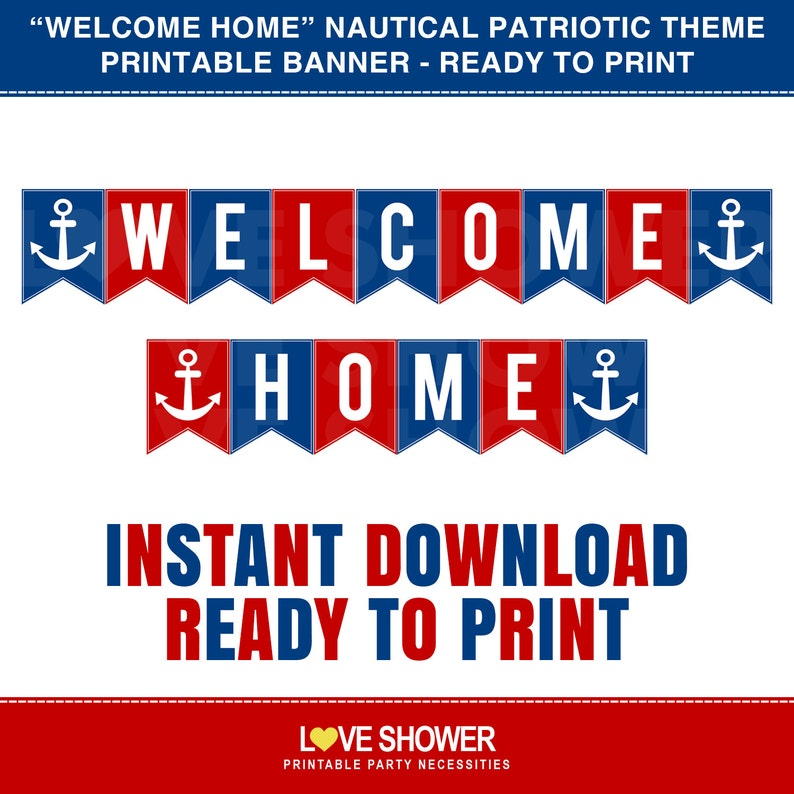 photograph regarding Welcome Home Banner Printable known as WELCOME Property Printable Banner. Crimson Blue Nautical Patriotic Concept. Electronic Record. PDF. Well prepared in the direction of Print. LS0021