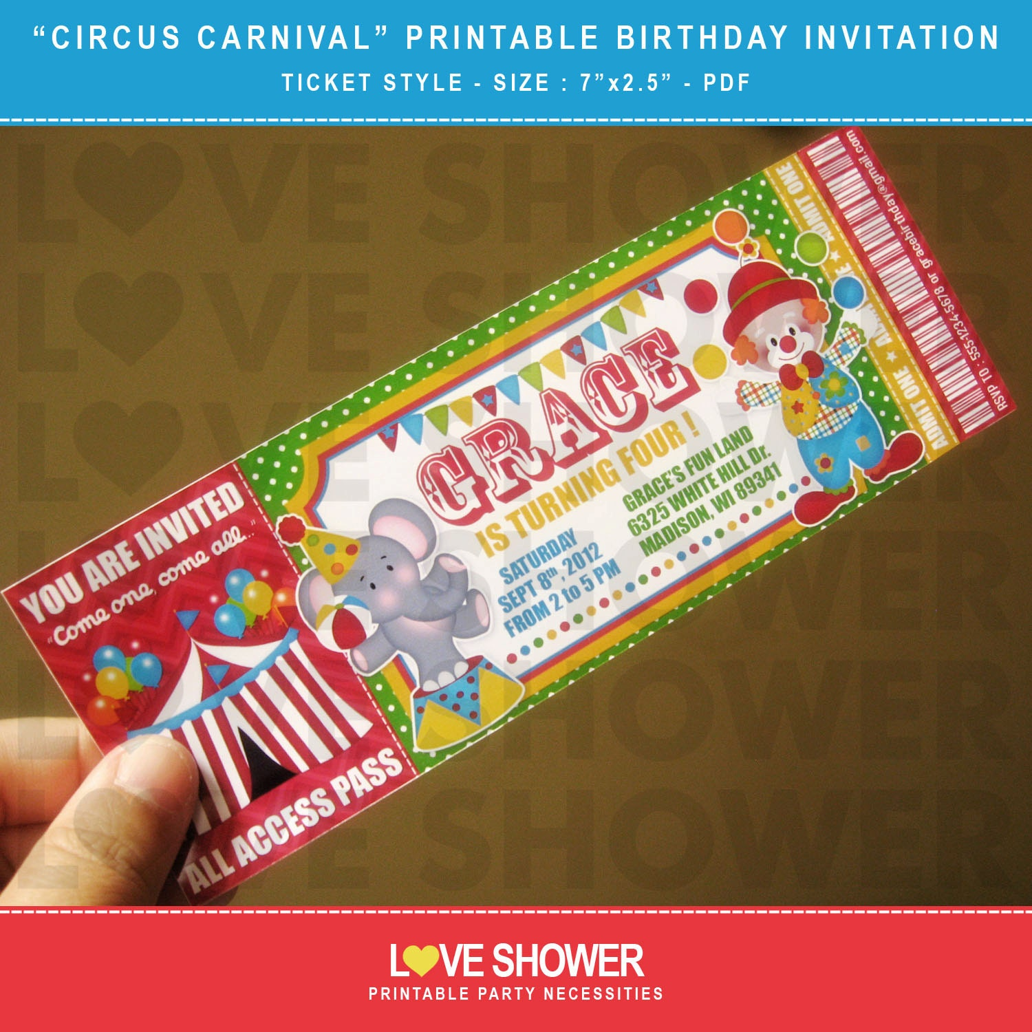 circus carnival printable birthday invitation ticket style etsy
