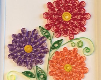 Quilled Zinnia Flowers