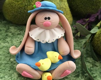 Hand Sculpted Polymer Clay Easter Bunny