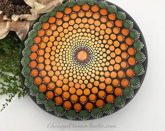 Hand Painted Orange Mandala Stone/Rocks
