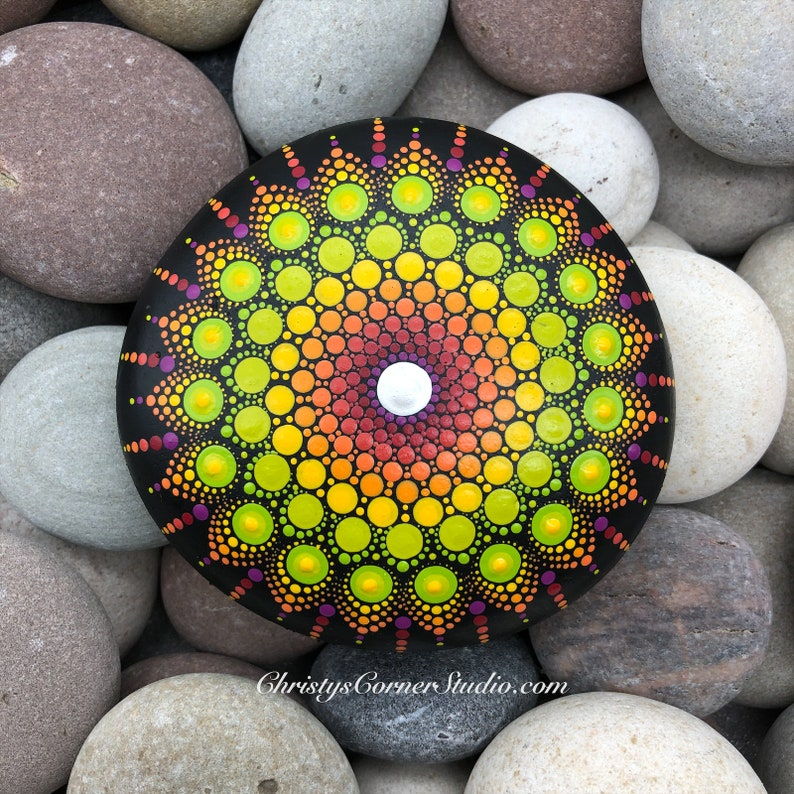 Hand Painted Citrus Colors Mandala StoneRock