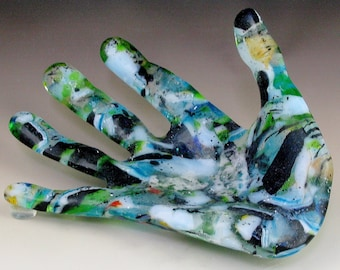 Abstract Fused Glass Hand