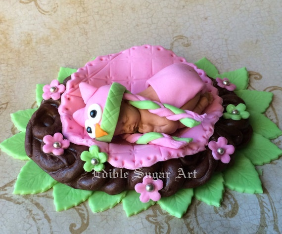 Owl Baby Shower Cake Topper Fondant Owl Knitted Hat First Etsy